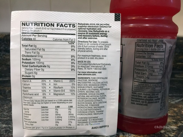 Gatorade and Rehydrate Nutrition Facts