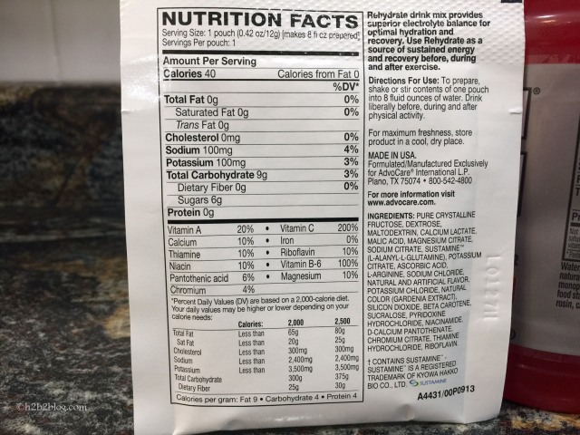 Rehydrate Nutrition Facts